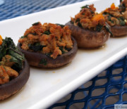 Chicken and Kale Stuffed Mushrooms