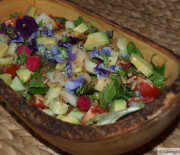 Spring Salad with Anchovy Vinaigrette (and edible flowers)