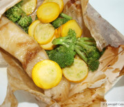 Asian Sea Bass in Parchment (en papillote) with Steamed Veggies