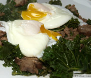 Hamburger & Kale w/ Poached Eggs