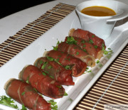Prosciutto-Wrapped Poppers with Honey Mustard