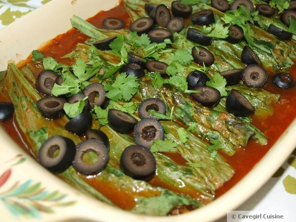 Beefy Turnip Greens Enchiladas (paleo enchiladas)