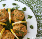 Salmon Meatballs with Dill Pesto