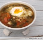 Garlic Kale Soup with a Poached Egg