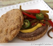 Llama Burgers with Pickled Peppers on a Nourishe Sandwich Thin