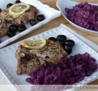 Baked Greek Pork Chops & Braised Red Cabbage w/ Bacon & Caraway Seeds