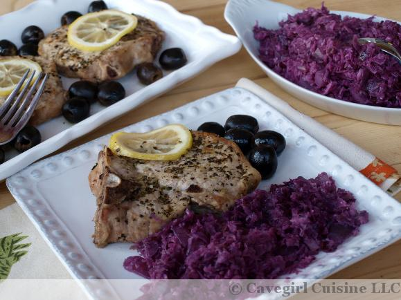 Baked Greek Pork Chops with Braised Red Cabbage