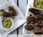 Curried Venison and Pork Kebabs with Avocado Dipping Sauce