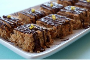 Lemon Macadamia Squares with Dark Chocolate Drizzle