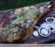 Roasted Leg of Lamb with a Sweet Garlic Parsley Rub