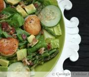 Big Green Salad w/ Scallops & a Bacon-Horseradish Vinaigrette