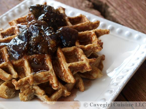 Vanilla Cake Batter Waffle with Fig Maple Syrup