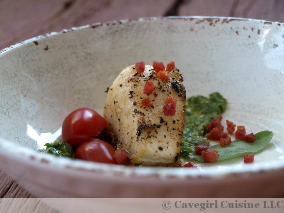 Sea Bass with Pancetta and Garlic Sage Pesto