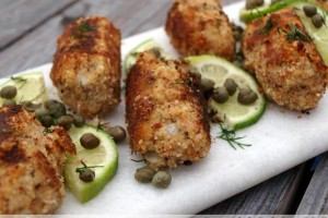 Prosciutto-Breaded Salmon Croquettes (paleo/grain-free)