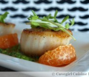 SousVide Scallops in Orange-Butter Sauce with Basil Pesto
