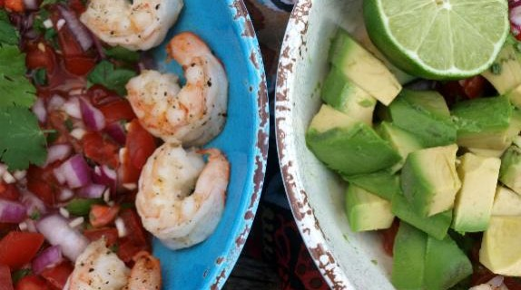 Guacamole Maria with Grilled Shrimp