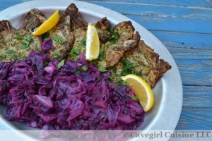 Lemon Parsley Pork Chops with Cabbage and Apples