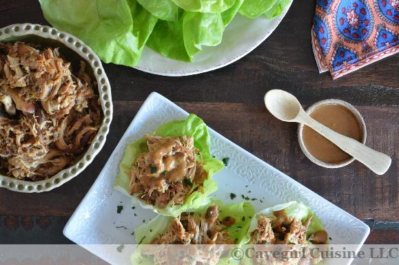 Honey Mustard Chicken Lettuce Wraps with Almond Satay Sauce