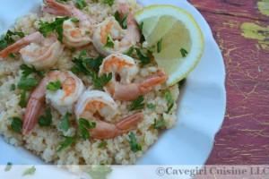 Lemon Garlic Shrimp and Grits (riced cauliflower)