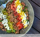 Hamburger Cobb Salad with Mustard Vinaigrette