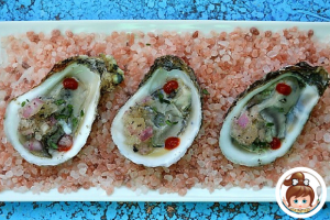 Raw Oysters with Champagne and Shallot Granita
