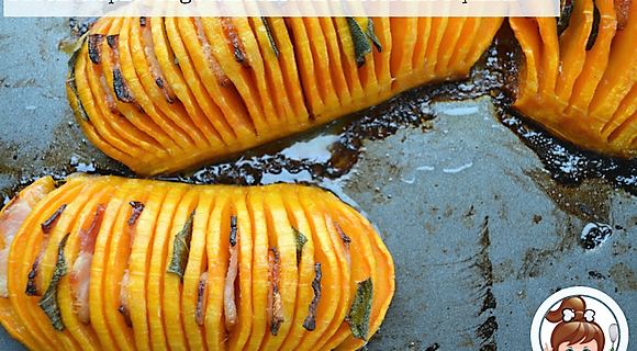 Bacon-Maple-Sage Hasselback Butternut Squash